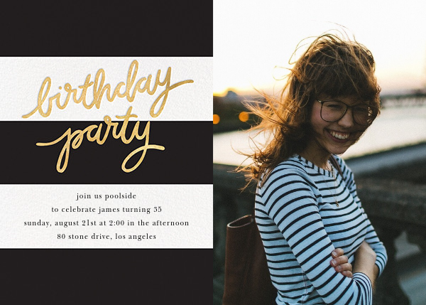 Cabana Birthday (Photo) - Black - Sugar Paper - Adult birthday