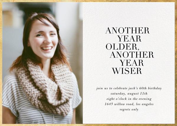 Older and Wiser (Photo) - Sugar Paper - Adult birthday
