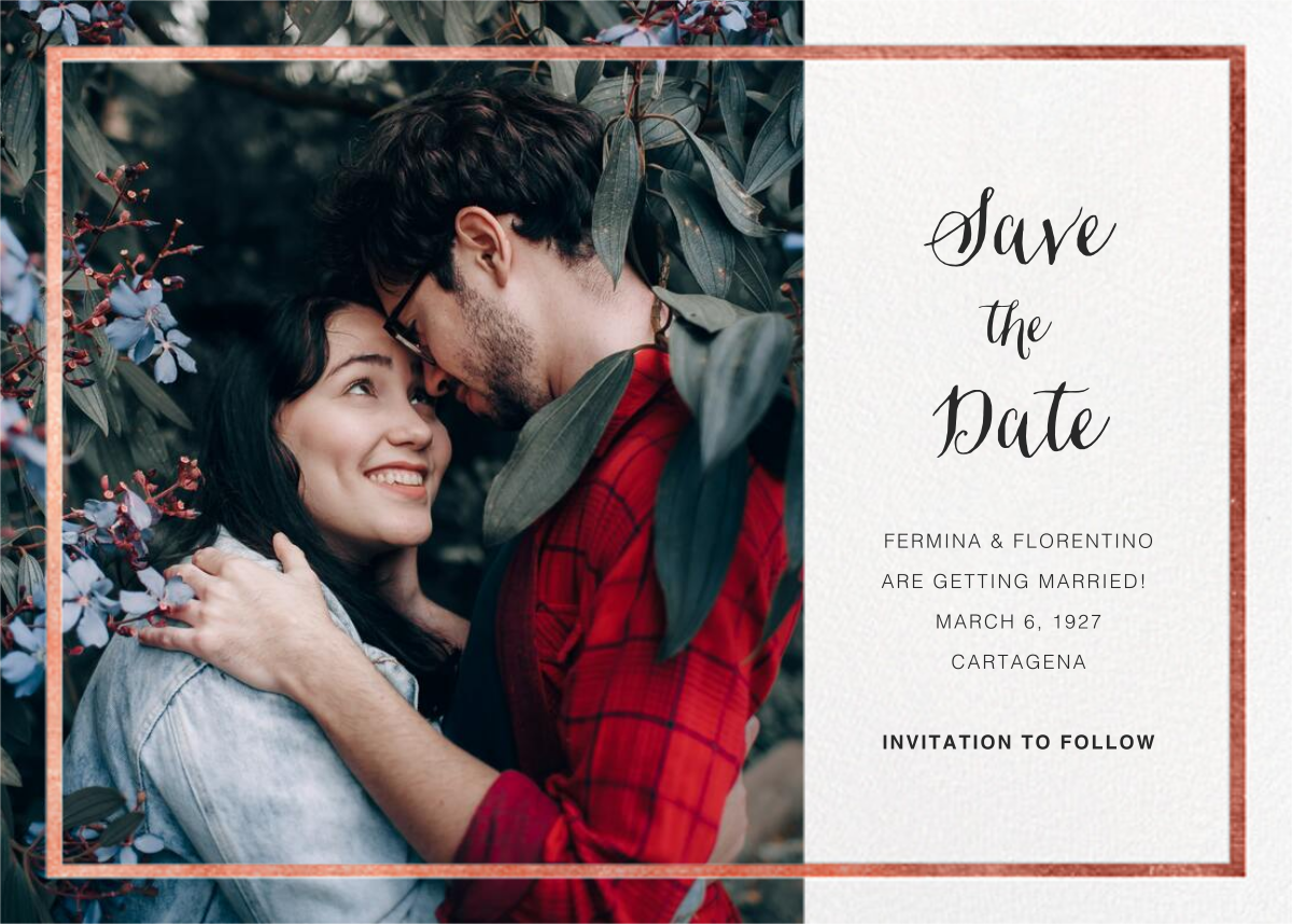 Idylle (Photo Save the Date) - White/Rose Gold - Paperless Post - Photo