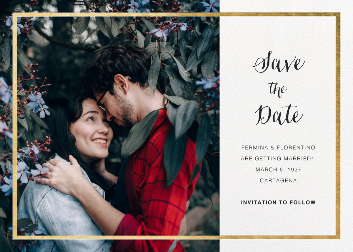 Idylle (Photo Save the Date) - White/Gold - Paperless Post - Photo