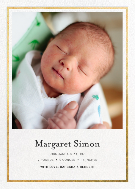 Gracile (Announcement) - White/Gold - Paperless Post - Birth