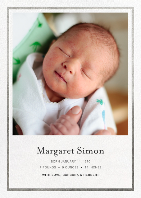 Gracile (Announcement) - White/Silver - Paperless Post - Birth