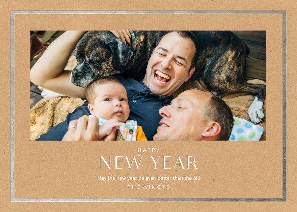 New Year Finestra (Horizontal) - Kraft/Silver - Paperless Post - New Year