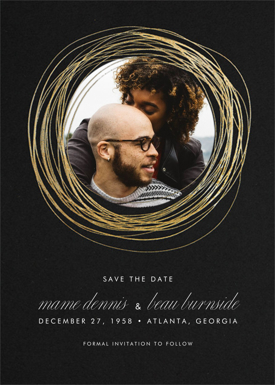 Winter Wreath (Tall Save the Date) - Black/Gold - Paperless Post