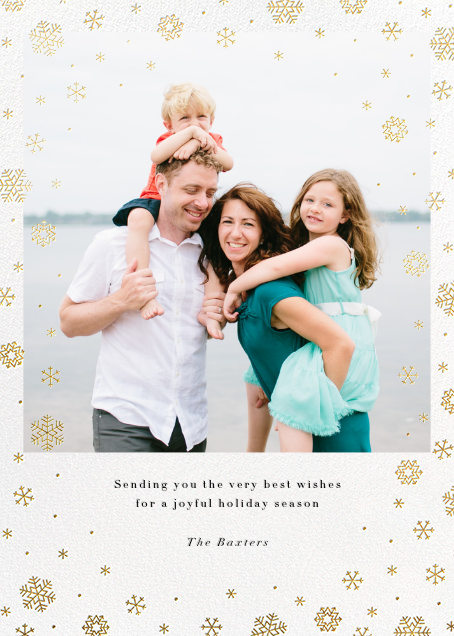 Snowfall - Gold - Paperless Post - Holiday cards