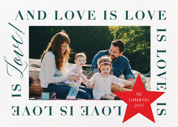 Love Is Love Is Love (Horizontal) - Red - Cheree Berry - Holiday cards