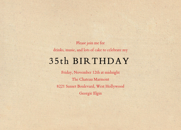 Red Letter Party (Invitation) - John Derian - Adult birthday - card back