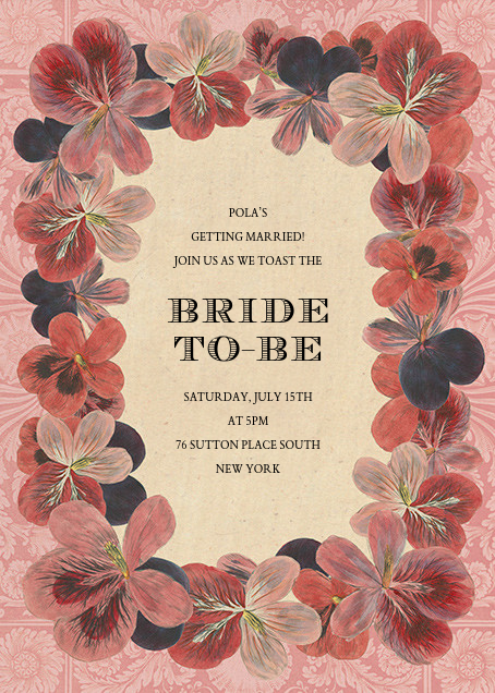 Pelargonium (Invitation) - John Derian - Bridal shower