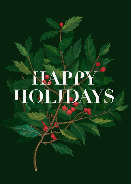 Holly Branch Holiday - Paperless Post - Use your own logo