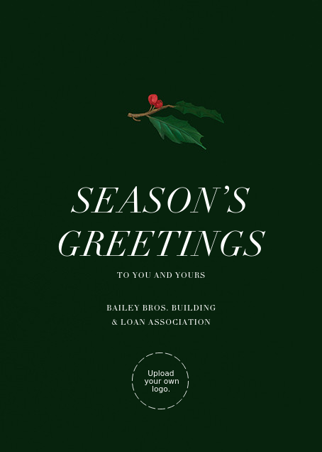 Holly Branch Holiday - Paperless Post - Use your own logo - card back