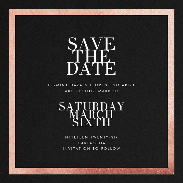 Editorial II (Save the Date) - Black/Rose Gold - Paperless Post - Save the date
