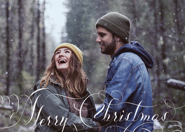 Merry Christmas Script (Photo) - White - Bernard Maisner - Christmas