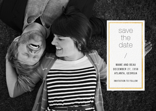 Solidus (Save the Date) - White/Gold - Paperless Post - Photo