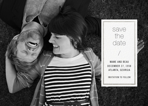 Solidus (Save the Date) - White/Silver - Paperless Post - Photo