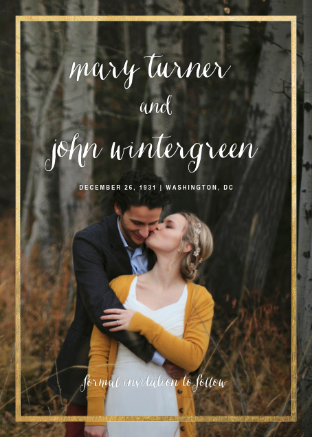 Idylle (Tall Photo Save the Date) - Gold - Paperless Post - Photo