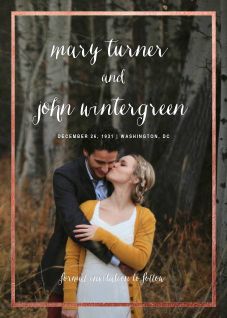 Idylle (Tall Photo Save the Date) - Rose Gold - Paperless Post