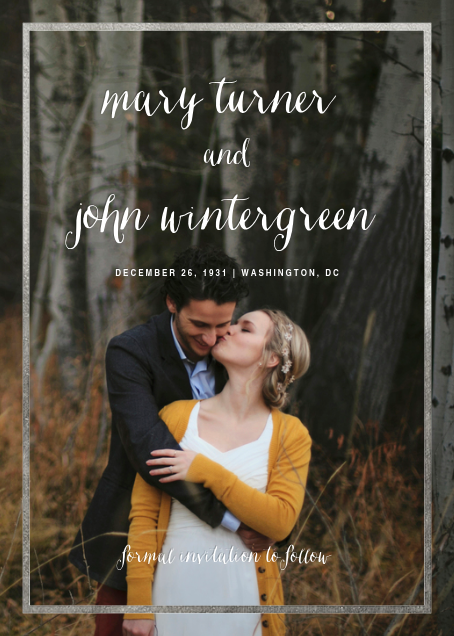 Idylle (Tall Photo Save the Date) - Silver - Paperless Post - Photo