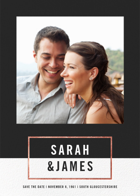 Bright and Bold (Save the Date) - Caviar/Rose Gold - Paperless Post - Photo