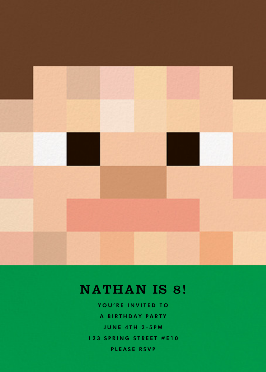 Pixel People - Green - The Indigo Bunting - Kids' birthday