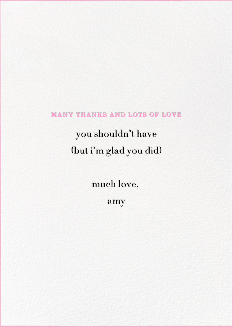 Many Thanks Lots of Love - kate spade new york - Thank you - card back