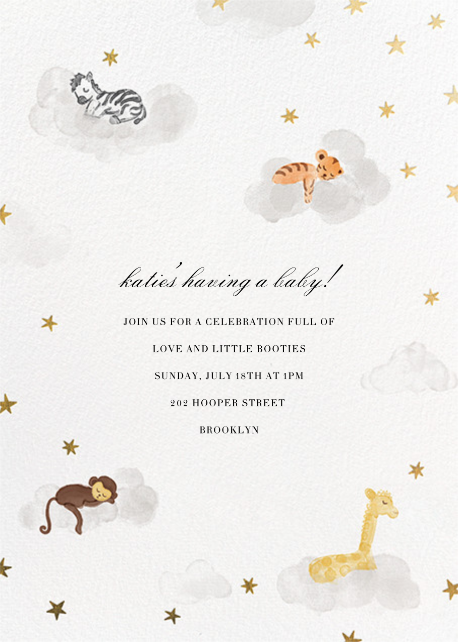 Starry Slumber (Invitation) - Gold - Paperless Post - Baby shower