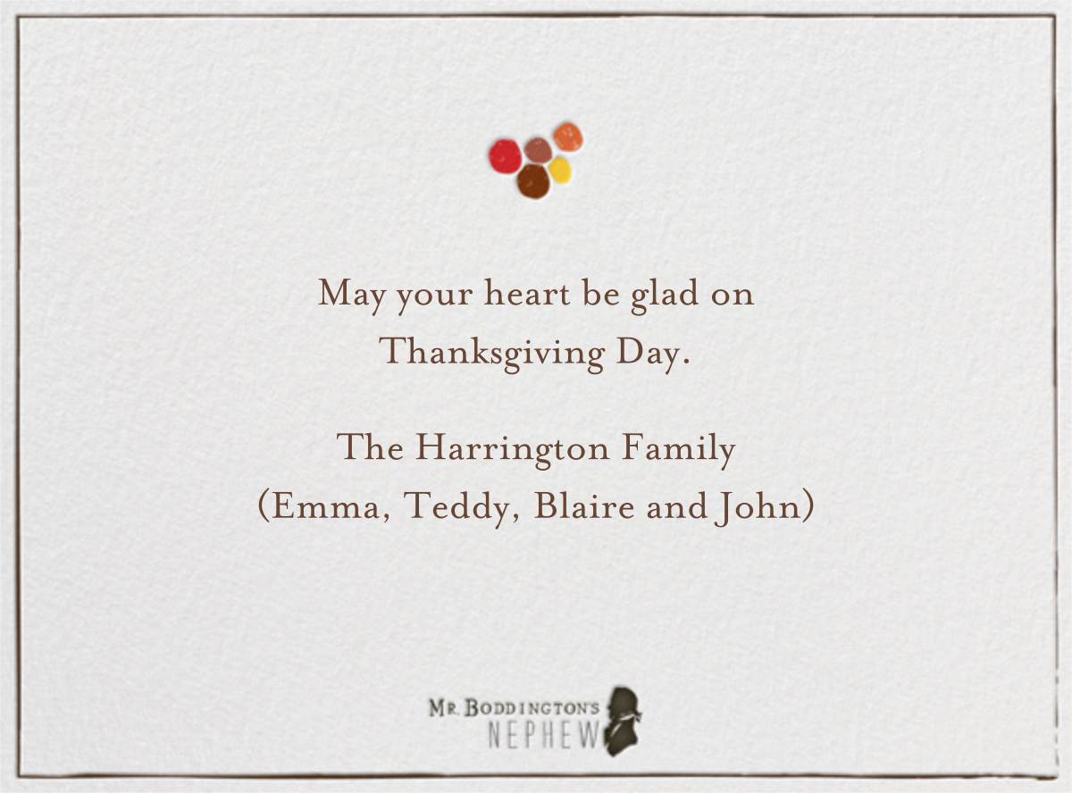 Gobble Gobble Glee - Brights - Mr. Boddington's Studio - Thanksgiving - card back