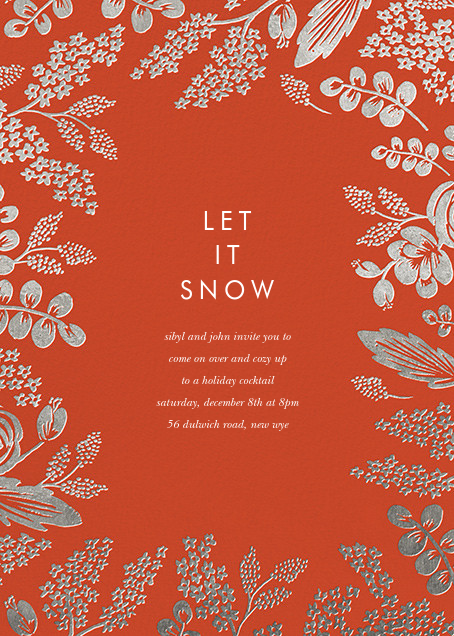 Heather and Lace (Invitation) - Red/Silver - Rifle Paper Co. - Winter entertaining