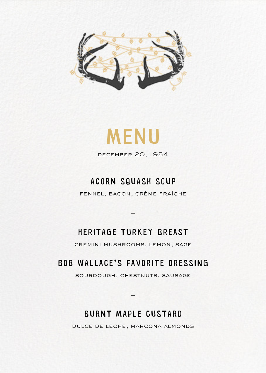 Antlers Tangle (Menu) - Paperless Post - Holiday Party
