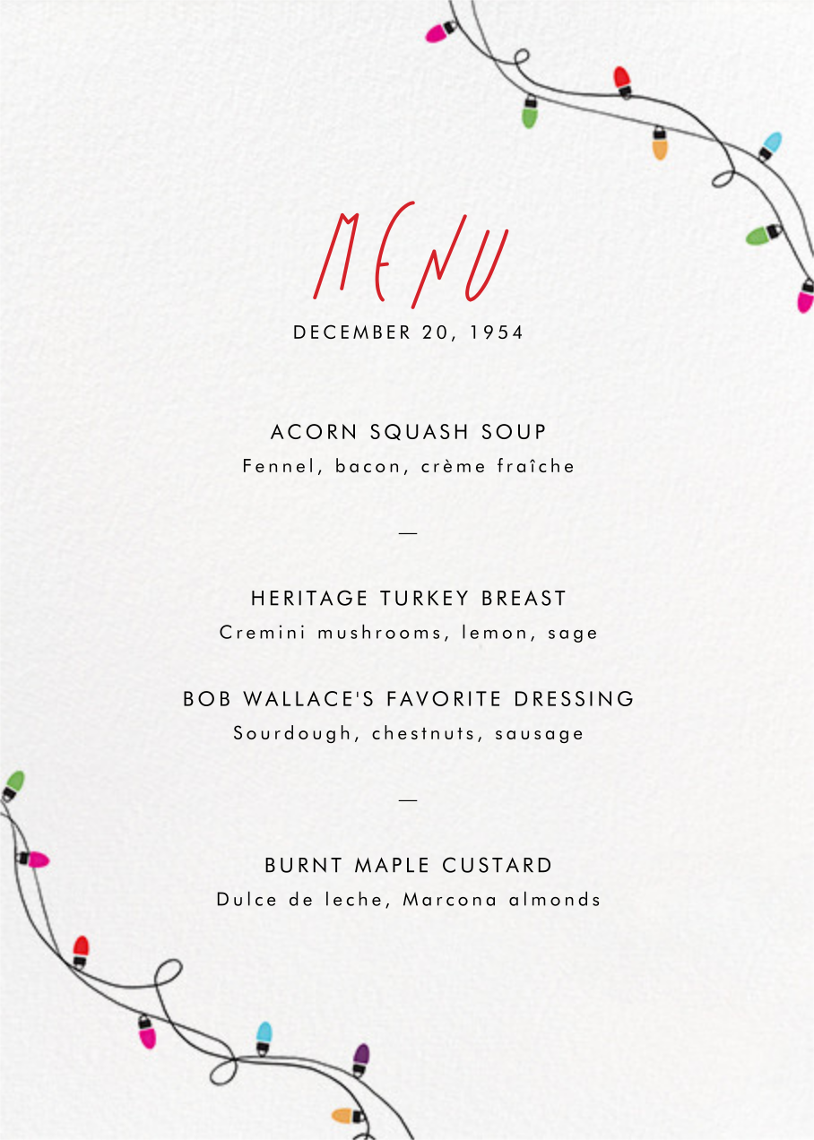 Holiday Lights (Menu) - Paperless Post - Holiday Party