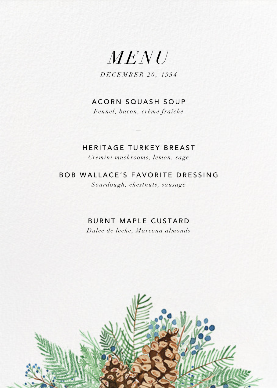 Juniper and Pine (Menu) - Paperless Post - Holiday Party