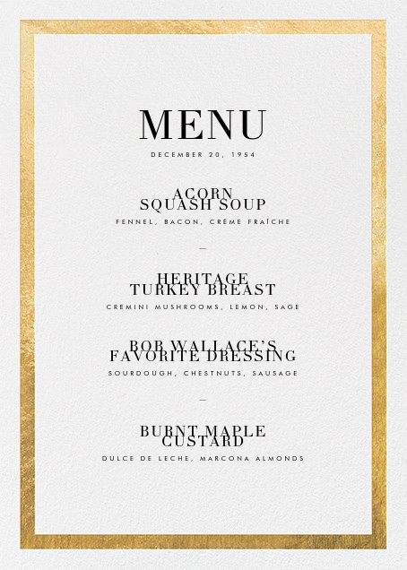 Editorial II (Menu) - Gold - Paperless Post - Holiday Party