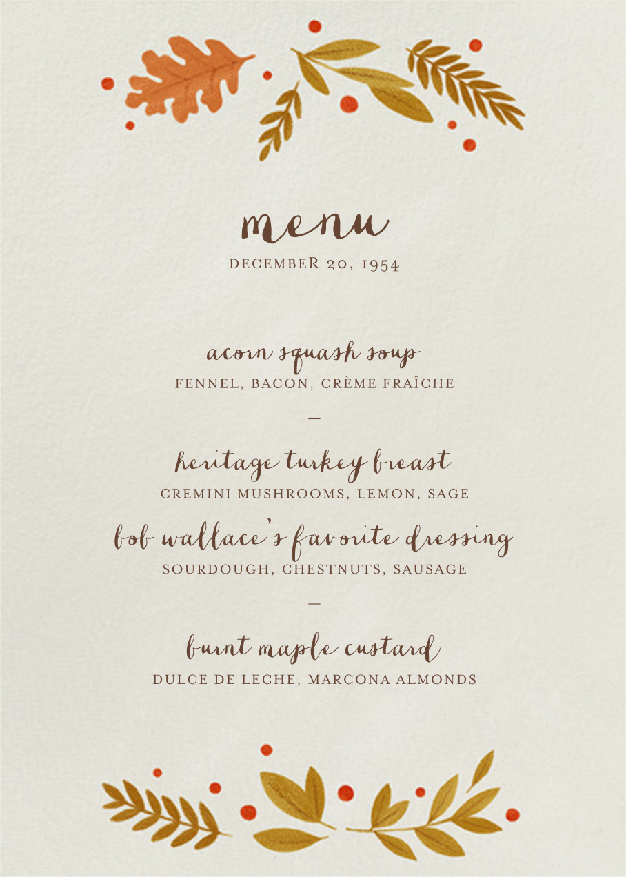 Autumnal Wreath (Menu) - Paperless Post - Holiday Party
