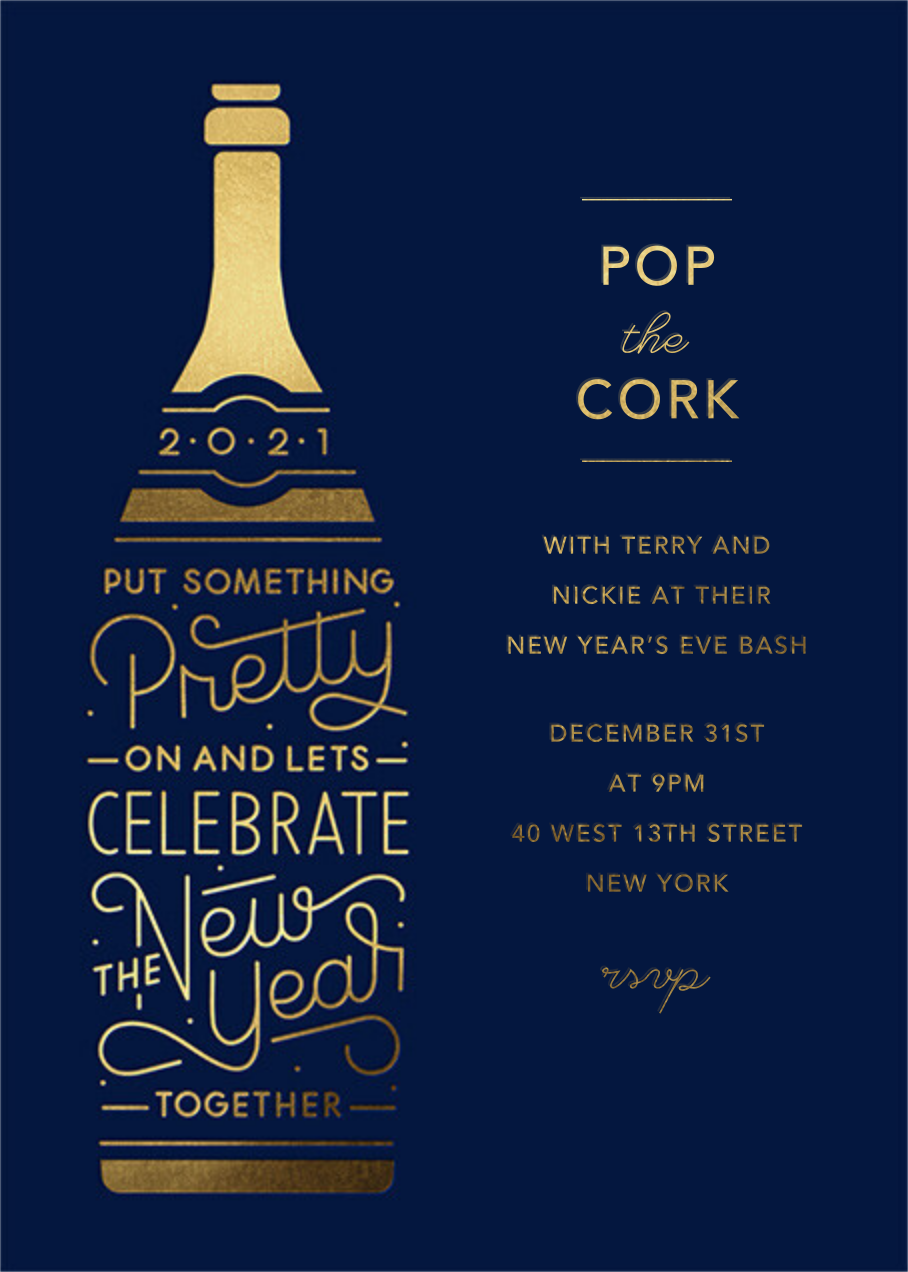 Pop Your Cork - Paperless Post - New Year's Eve