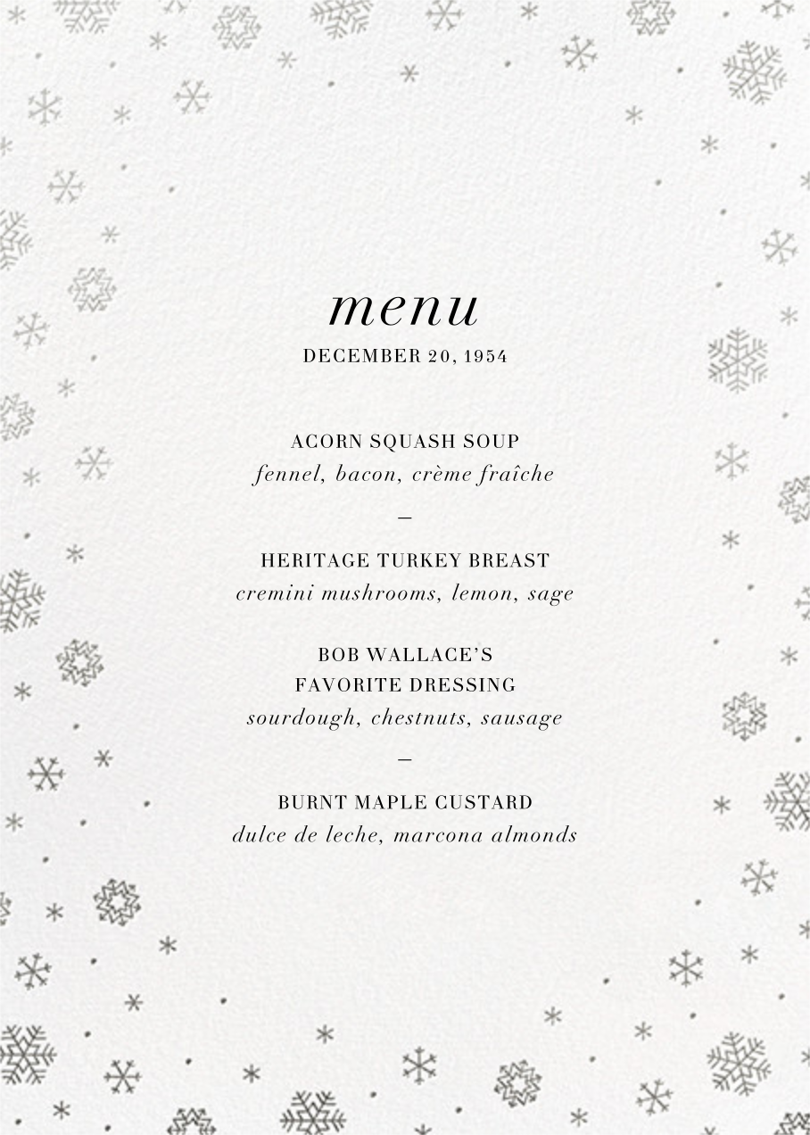 White Out (Menu) - Silver - Paperless Post - Holiday Party