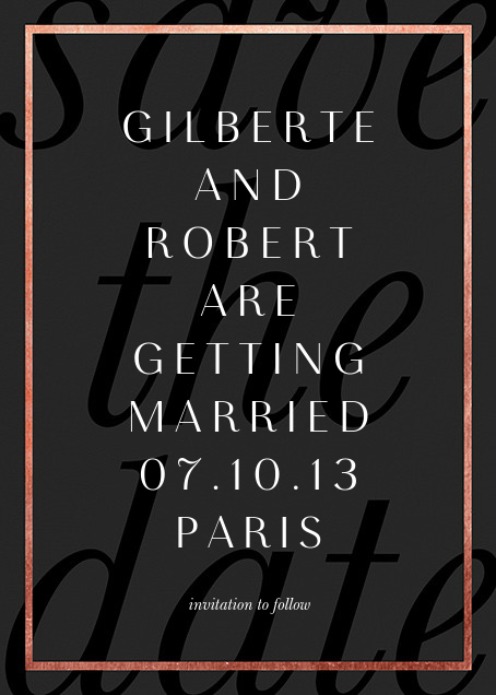 Imprint - Black/Rose Gold - Paperless Post - Save the date