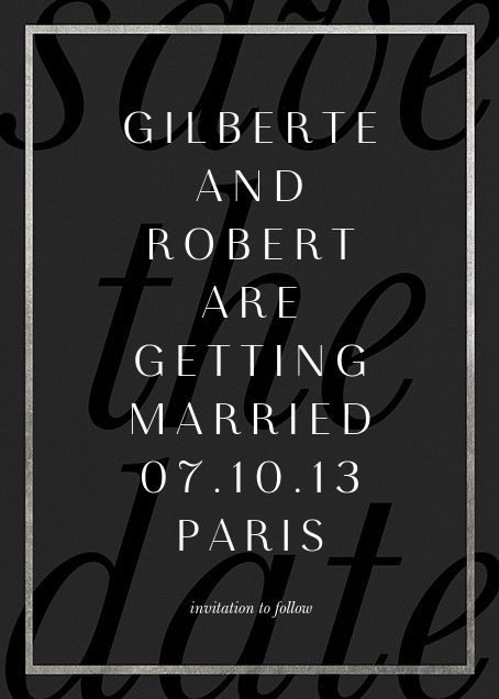 Imprint - Black/Silver - Paperless Post - Save the date