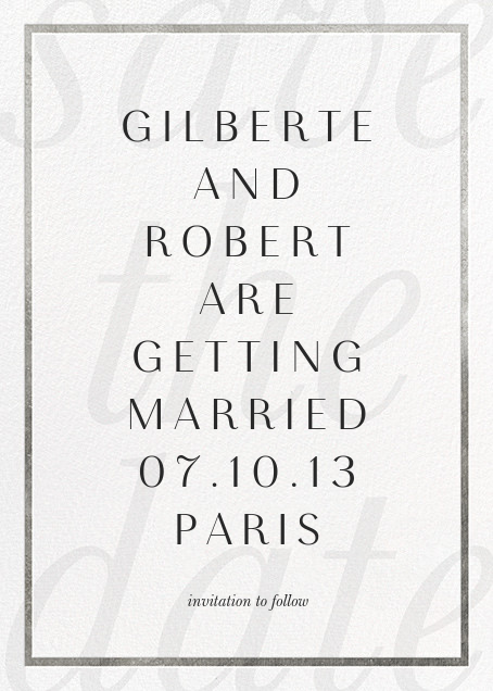 Imprint - White/Silver - Paperless Post - Save the date