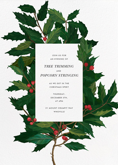English Holly - Paperless Post - Printable invitations