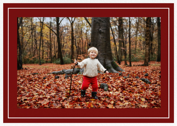 Double Border Photo (Horizontal) - Crimson/White - Paperless Post - Holiday cards