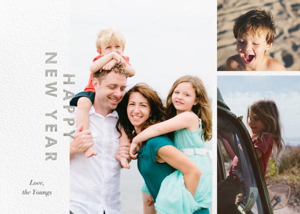 New Year Cutouts (Horizontal Multi-Photo) - Silver - Paperless Post