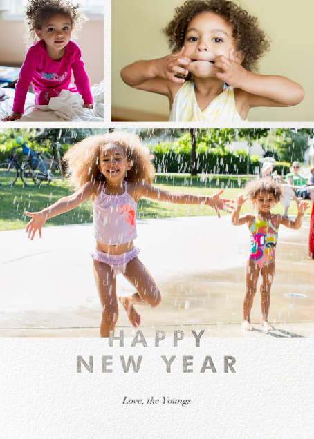 New Year Cutouts (Tall Multi-Photo) - Silver - Paperless Post