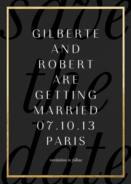 Imprint - Black/Gold - Paperless Post - Save the date