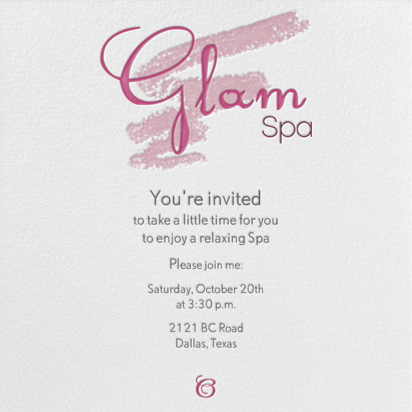 Glam Spa Online At Paperless Post
