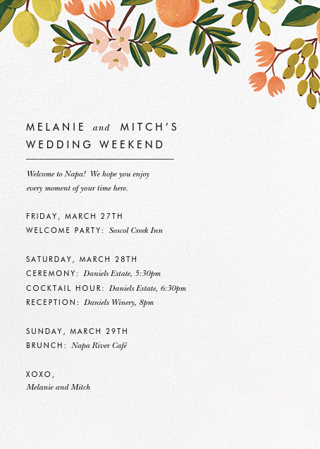 Citrus Orchard Suite (Welcome Letter) - Rifle Paper Co. - Welcome letters