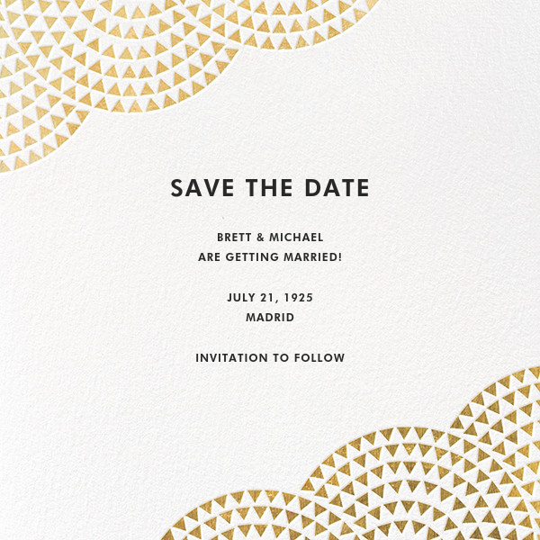 Savoy (Save the Date) - Gold - Paperless Post - Party save the dates