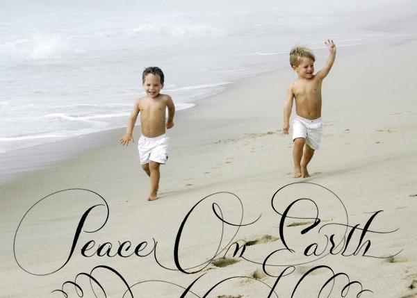 Peace on Earth Script (Photo) - Black - Bernard Maisner - Holiday cards