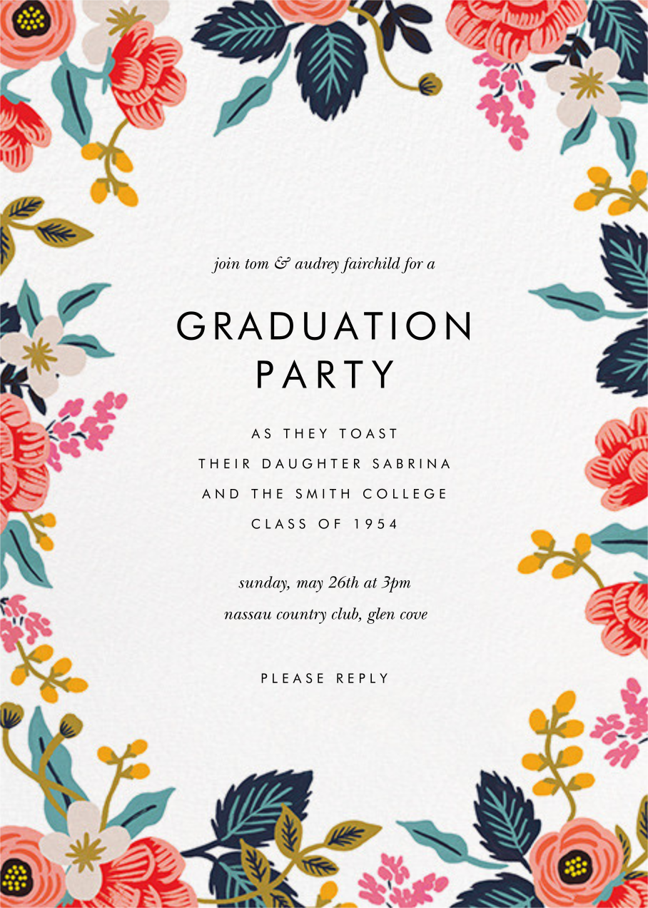 Birch Monarch (Tall Photo) - Rifle Paper Co. - Graduation party - card back