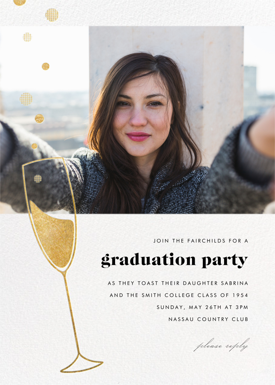 Champagne Bubbles (Photo) - Gold - Paperless Post - Graduation party