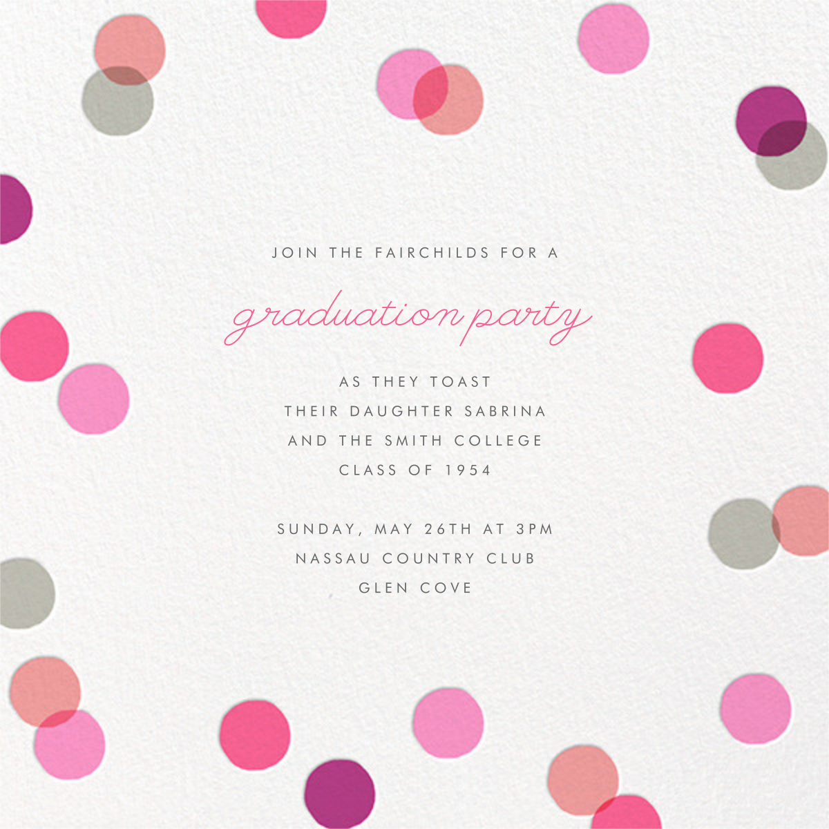Carnaby (Photo) - Pink - Paperless Post - Graduation party - card back