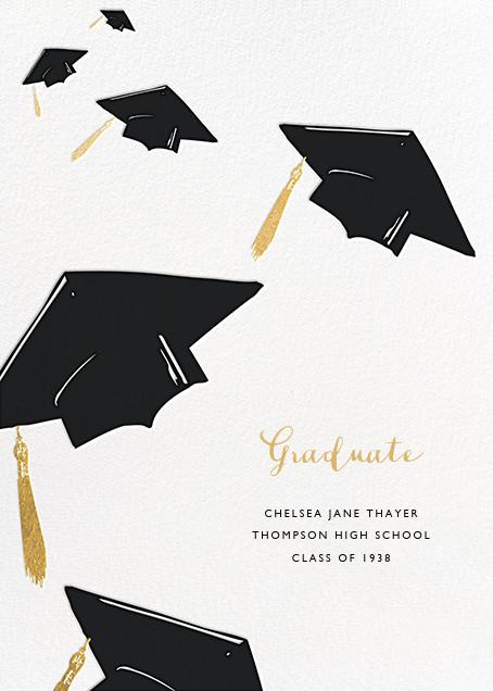 Downpour of Caps - Black - Paperless Post - Graduation